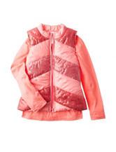 Self Esteem 2-pc. Solid Coral Top & Sequin Vest Set - Girls 7-16