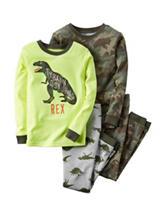 Carter's® 4-pc. Camouflage & Dinosaur Print Pajamas Set - Toddler Boys