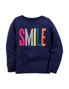 Carters® Smile Screen Print Sweater - Toddler Girls