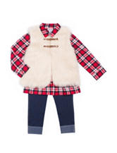 Little Lass 3-pc. Faux Fur Vest & Jeggings Set - Girls 4-6x