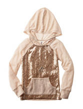 Beautees Sequin Rib Hood Top - Girls 7-16