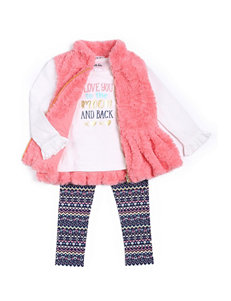 Little Lass 3-pc. Faux Fur Vest & Leggings Set - Toddler & Girls 4-6x