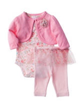 Laura Ashley 3-pc. Pink Shrug & Leggings Set - Baby 3-9 Mos.