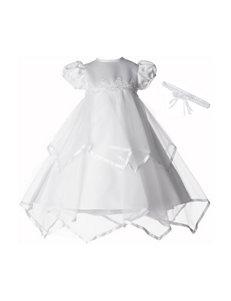 Lauren Madison 2-pc. White Taffeta Dress & Floral Headband - Baby 0-12 Mos.