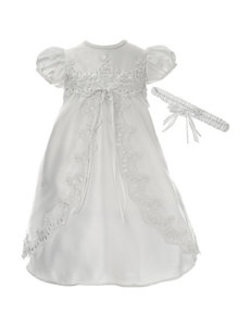 Lauren Madison 2-pc. Organza Embroidered Dress & Floral Headband - Baby 0-12 Mos.