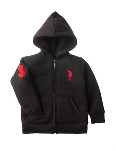 U.S. Polo Assn. Black Sherpa Hoodie - Toddler Boys