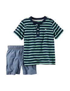 Carters® 2-pc. Stripe Print Henley & Short Set - Baby 9-24 Mos.