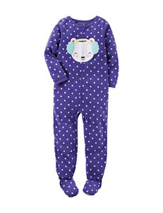 Carter's® Bear & Earmuffs Appliqué Footed Pajama - Girls 4-8