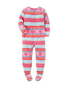 Carter's® Multicolor Fair Isle Striped Print Footed Pajamas - Girls 4-8