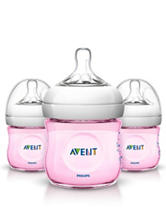 Philips Avent 3-pc. Natural 4-oz. Baby Bottle - Pink