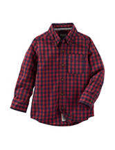 OshKosh B'gosh® Navy & Red Plaid Print Shirt - Toddler Boys