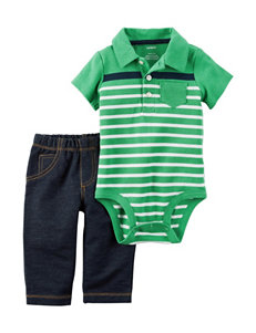 Carter's 2-Pc. Stripe Print Polo Bodysuit Set - Baby 0-18 Mos.