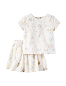 Carter's® 2-pc. Floral Print Sateen Top & Skirt Set - Girls 4-8