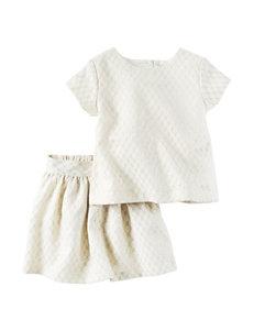 Carter's® 2-pc. Metallic Jacquard Print Top & Skirt Set - Girls 4-8
