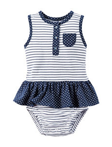 Carter's Stripe & Dot Print Skirted Bodysuit - Baby 3-18 Mos.
