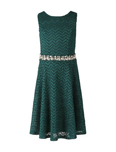 Speechless Teal Chevron Print Dress - Girls 7-16