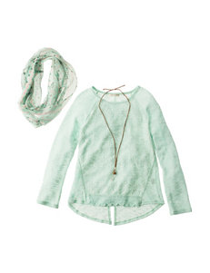 Self Esteem 3-pc. Turquoise Lacei Top Set - Girls 7-16