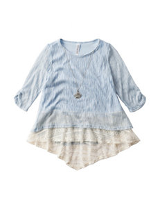 Beautees Shimmery Lace Hi-Lo Top - Girls 7-16