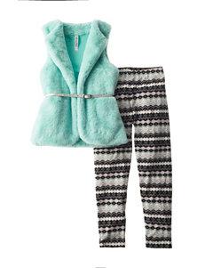 Beautees 2-pc. Mint Faux Fur Vest & Leggings Set - Girls 7-16