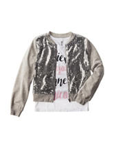 Beautees 2-pc. Sequin Bomber Jacket & Top Set - Girls 7-16