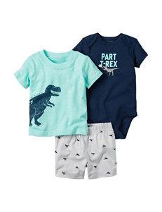 Carters 3-pc. Part T-Rex Bodysuit & Shorts Set- Baby 0-18 Mos.