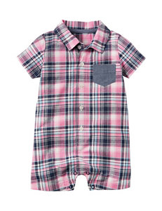 Carter's Pink & Grey Plaid Romper - Baby 3-18 Mos.