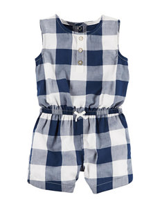 Carters Blue & White Plaid Print Romper - Baby 3-18 Mos.
