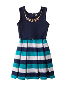 Beautees Striped Print Dress with Necklace - Girls 7-16