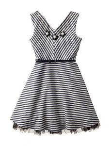 Beautees Stripe Print Dress with Necklace - Girls 7-16