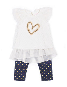 Little Lass 3-pc. Chiffon Heart Top & Capri Leggings Set - Girls 2-6x