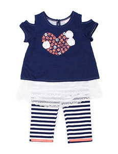 Little Lass 2-pc. Floral Heart Top & Stripe Capri Leggings Set - Girls 2-6x