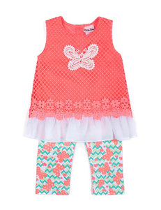 Little Lass 2-pc. Butterfly Top & Capri Leggings Set - Girls 2-6x