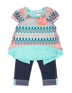 Little Lass 3-pc. Knit Top & Capri Leggings Set - Girls 2-6x
