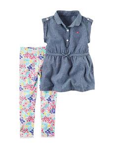 Carters 2-pc. Chambray Shirt & Leggings Set - Toddler Girls