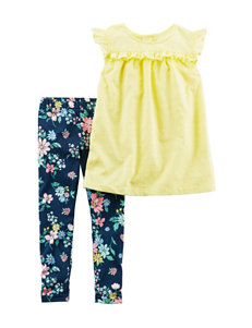 Carters 2-pc. Yellow Top & Floral Print Leggings Set -Toddler Girls