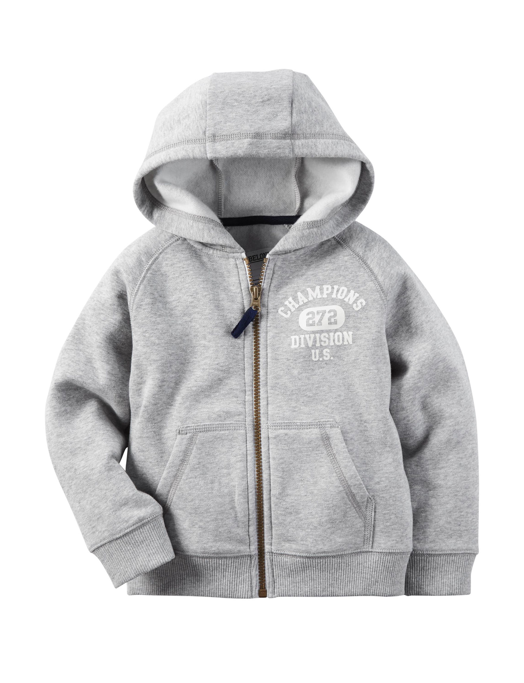 Carter's Heather Grey Fleece & Soft Shell Jackets Pull-overs