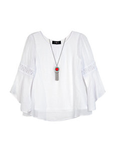 Amy Byer Solid White Lace Top with Necklace - Girls 7-16