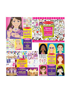 Melissa & Doug Girl's Sticker Bundle -  Jewelry & Nails, Art Essentials, Fashion Faces & Dress-Up