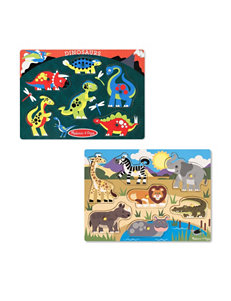 Melissa & Doug Peg Puzzle Bundle - Safari & Dinosaurs