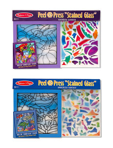 Melissa & Doug Peel & Press Stained Glass - Rainbow Garden and Undersea Fantasy