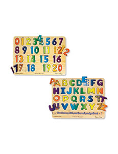 Melissa & Doug Numbers & Alphabet Sound Puzzle Bundle