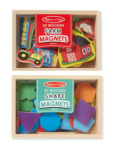 Melissa & Doug Wooden Magnets Bundle - Shapes & Farms