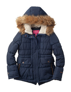London Fog Navy Puffer & Quilted Jackets