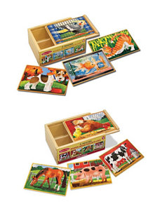 Melissa & Doug Pets & Farm Animals Puzzle Box Bundle