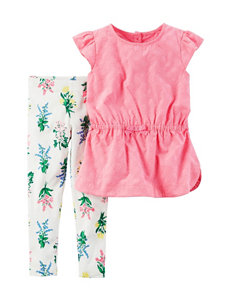 Carter's 2-pc. Pink Top & Floral Print Leggings - Baby 12-24 Mos.