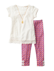 Self Esteem 2-pc. Lace Top & Leggings Set - Girls 4-6x