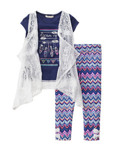 Self Esteem 3-pc. Lace Vest & Capris Set - Girls 4-6x