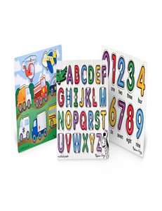 Melissa & Doug Alphabet, Vehicles, Numbers Peg Puzzle Bundle