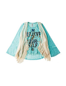 Beautees Believe in Yourself Top with Crochet Vest - Girls 7-16