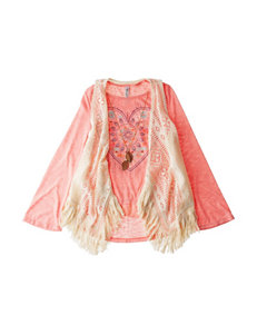 Beautees Pink Heart Top with Crochet Vest - Girls 7-16